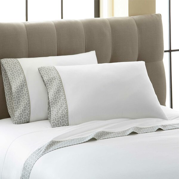 Cramer Octagonal Printed Cuff 300 Thread Count 100% Cotton 4 Piece Sheet Set by Darby Home Co